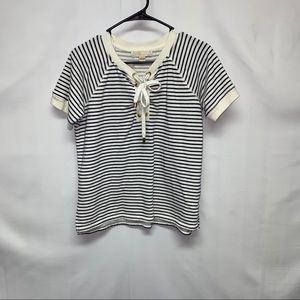 Michale Kors blue and white stripped top